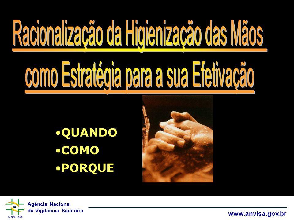 Agência Nacional de Vigilância Sanitária www.anvisa.gov.br A importância da higienização das mãos é pouco reconhecida pelos profissionais de saúde (10 a 63%).