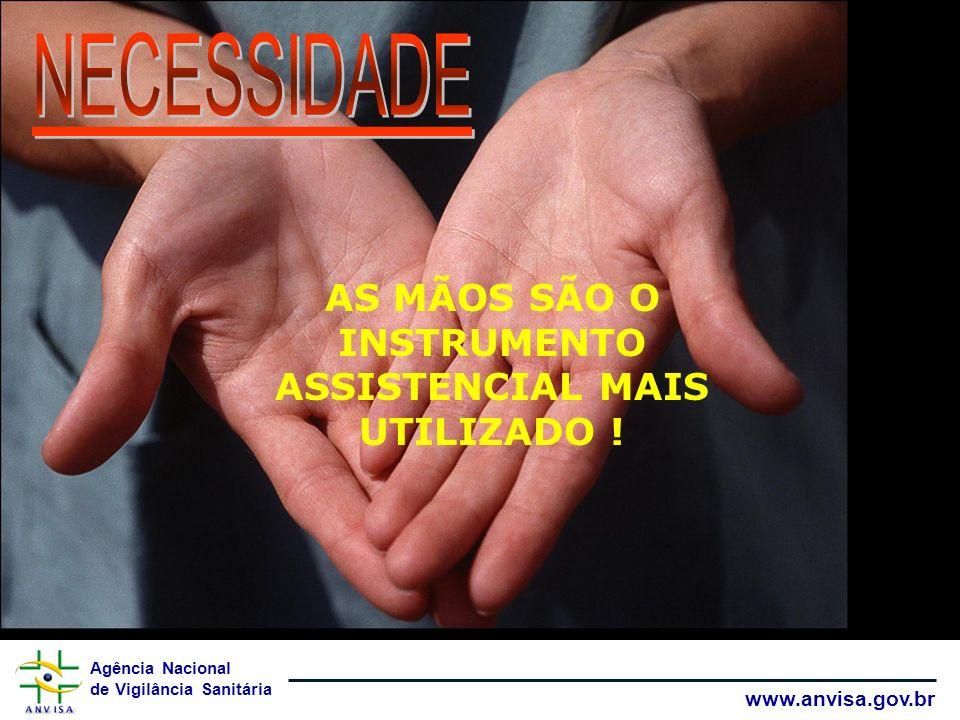 Agência Nacional de Vigilância Sanitária www.anvisa.gov.br AS MÃOS SÃO O INSTRUMENTO ASSISTENCIAL MAIS UTILIZADO !