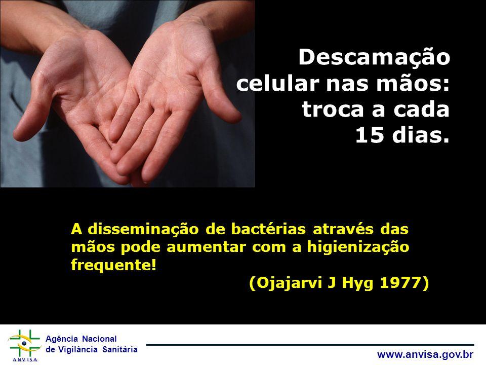 Agência Nacional de Vigilância Sanitária www.anvisa.gov.br E as mãos podem se contaminar durante o contato com paciente ou com superfícies.