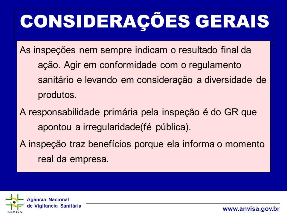 Agência Nacional de Vigilância Sanitária www.anvisa.gov.br CONSIDERAÇÕES GERAIS As inspeções nem sempre indicam o resultado final da ação. Agir em con