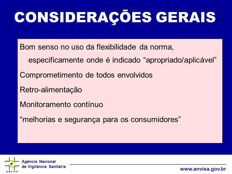 Agência Nacional de Vigilância Sanitária www.anvisa.gov.br CONSIDERAÇÕES GERAIS Bom senso no uso da flexibilidade da norma, especificamente onde é ind