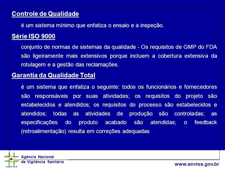 Agência Nacional de Vigilância Sanitária www.anvisa.gov.br Controle de Qualidade é um sistema mínimo que enfatiza o ensaio e a inspeção. Série ISO 900