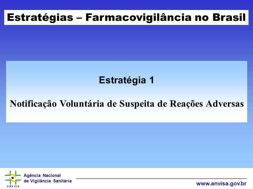 Agência Nacional de Vigilância Sanitária www.anvisa.gov.br Estratégia 1 Notificação Voluntária de Suspeita de Reações Adversas Estratégias – Farmacovigilância no Brasil