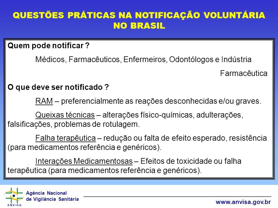 Agência Nacional de Vigilância Sanitária www.anvisa.gov.br QUESTÕES PRÁTICAS NA NOTIFICAÇÃO VOLUNTÁRIA NO BRASIL Quem pode notificar .