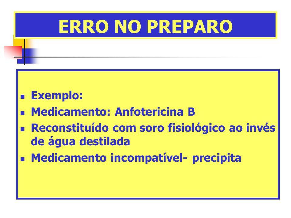 ERRO NO PREPARO Exemplo: Medicamento: Anfotericina B Reconstituído com soro fisiológico ao invés de água destilada Medicamento incompatível- precipita
