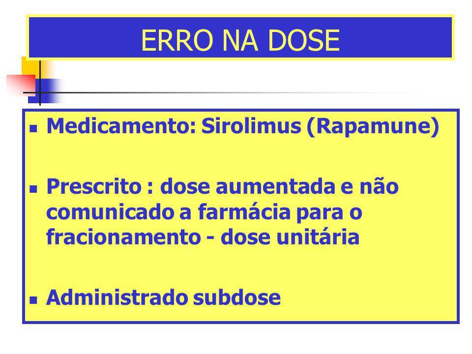 ERRO NA DOSE Medicamento: Sirolimus (Rapamune) Prescrito : dose aumentada e não comunicado a farmácia para o fracionamento - dose unitária Administrad