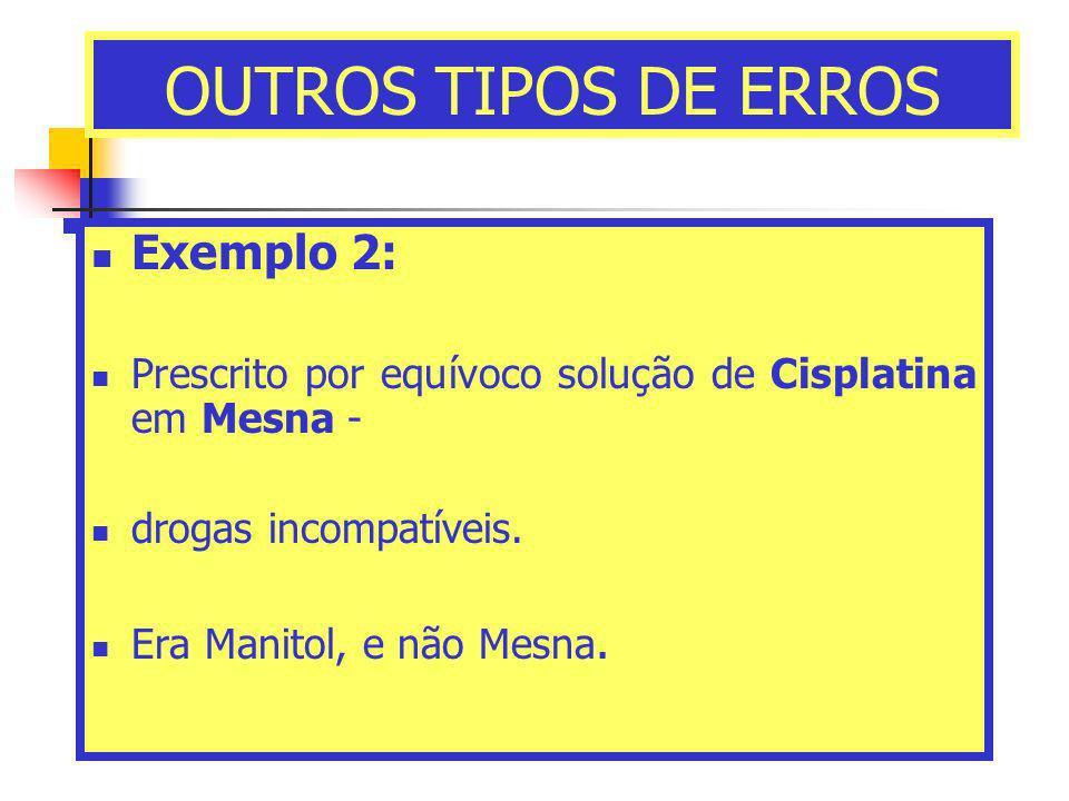 OUTROS TIPOS DE ERROS Exemplo 2: Prescrito por equívoco solução de Cisplatina em Mesna - drogas incompatíveis. Era Manitol, e não Mesna.