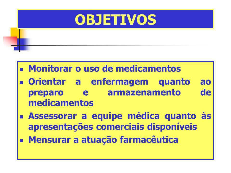OBJETIVOS Monitorar o uso de medicamentos Orientar a enfermagem quanto ao preparo e armazenamento de medicamentos Assessorar a equipe médica quanto às