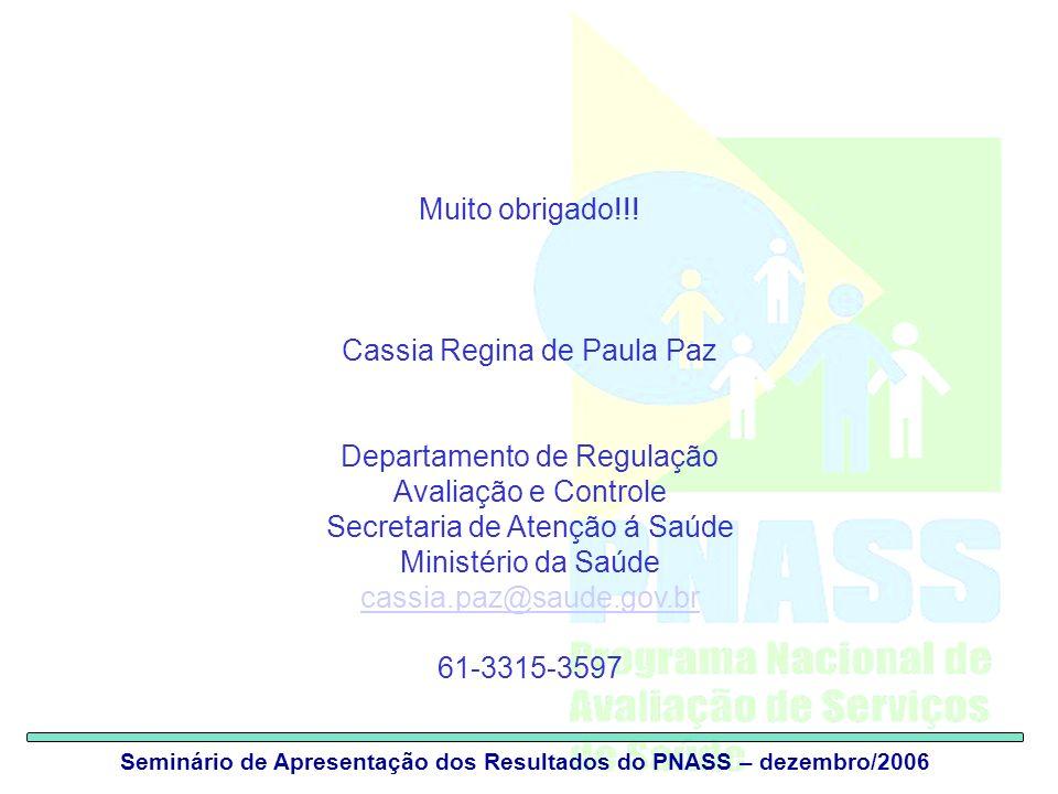 Seminário de Apresentação dos Resultados do PNASS – dezembro/2006 Muito obrigado!!.