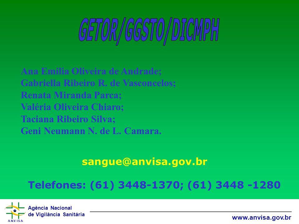 Agência Nacional de Vigilância Sanitária www.anvisa.gov.br sangue@anvisa.gov.br Telefones: (61) 3448-1370; (61) 3448 -1280 Ana Emilia Oliveira de Andrade; Gabriella Ribeiro R.