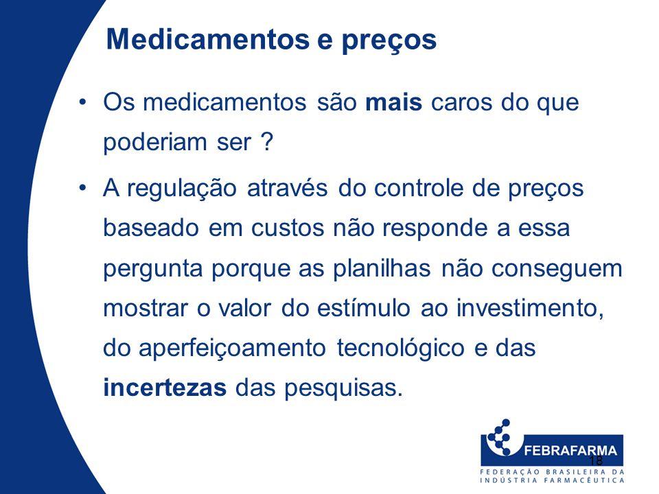 18 Medicamentos e preços Os medicamentos são mais caros do que poderiam ser ? A regulação através do controle de preços baseado em custos não responde