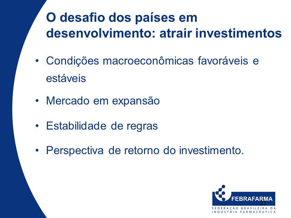 27 O desafio dos países em desenvolvimento: atrair investimentos Condições macroeconômicas favoráveis e estáveis Mercado em expansão Estabilidade de r