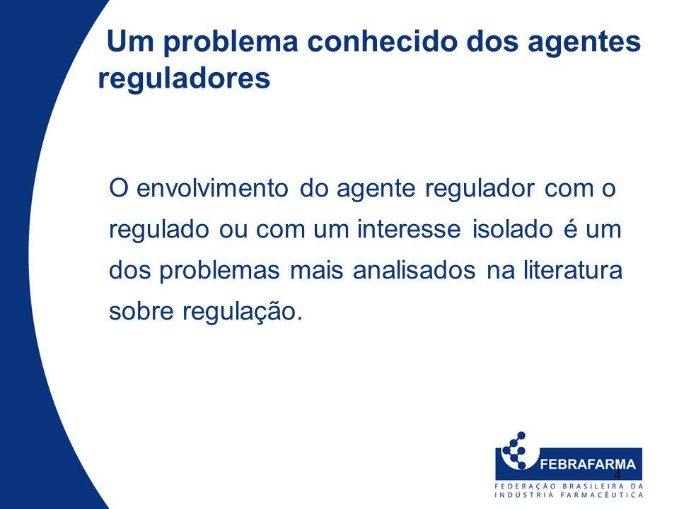 4 Um problema conhecido dos agentes reguladores O envolvimento do agente regulador com o regulado ou com um interesse isolado é um dos problemas mais