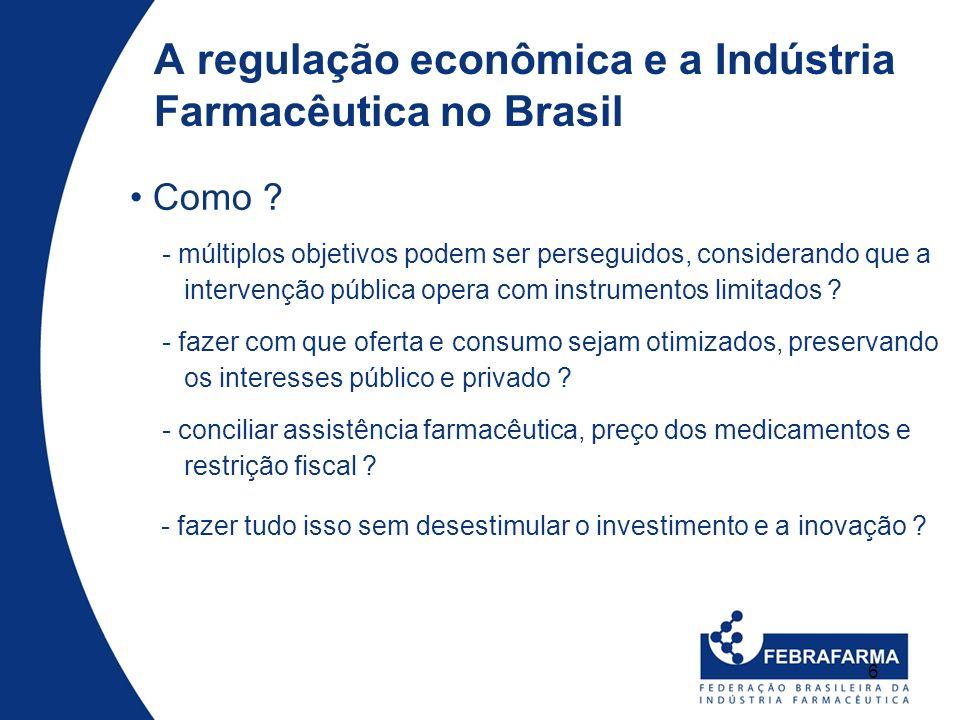 6 Como ? A regulação econômica e a Indústria Farmacêutica no Brasil - múltiplos objetivos podem ser perseguidos, considerando que a intervenção públic