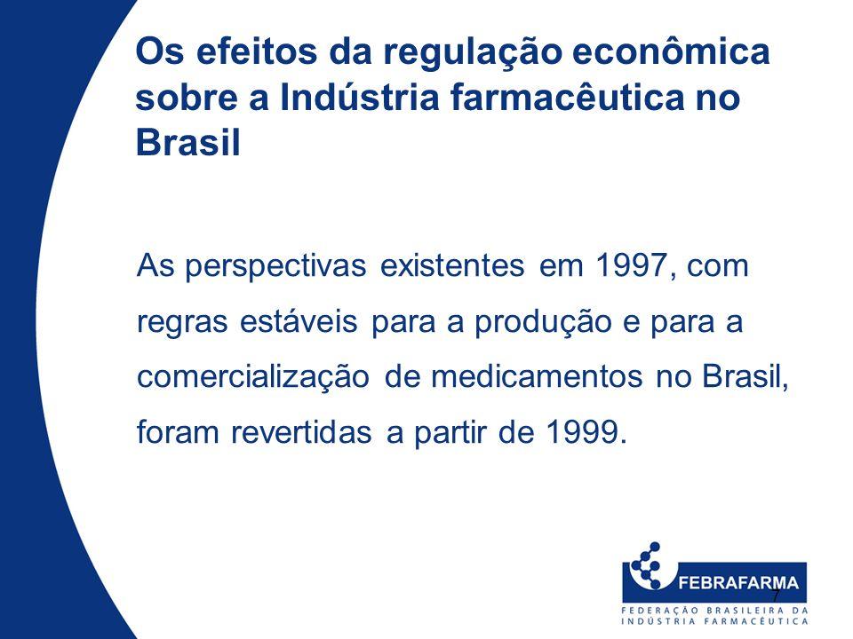 7 Os efeitos da regulação econômica sobre a Indústria farmacêutica no Brasil As perspectivas existentes em 1997, com regras estáveis para a produção e