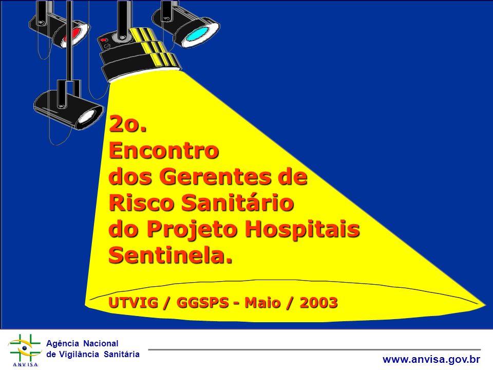 Agência Nacional de Vigilância Sanitária www.anvisa.gov.br 2o. Encontro dos Gerentes de Risco Sanitário do Projeto Hospitais Sentinela. UTVIG / GGSPS