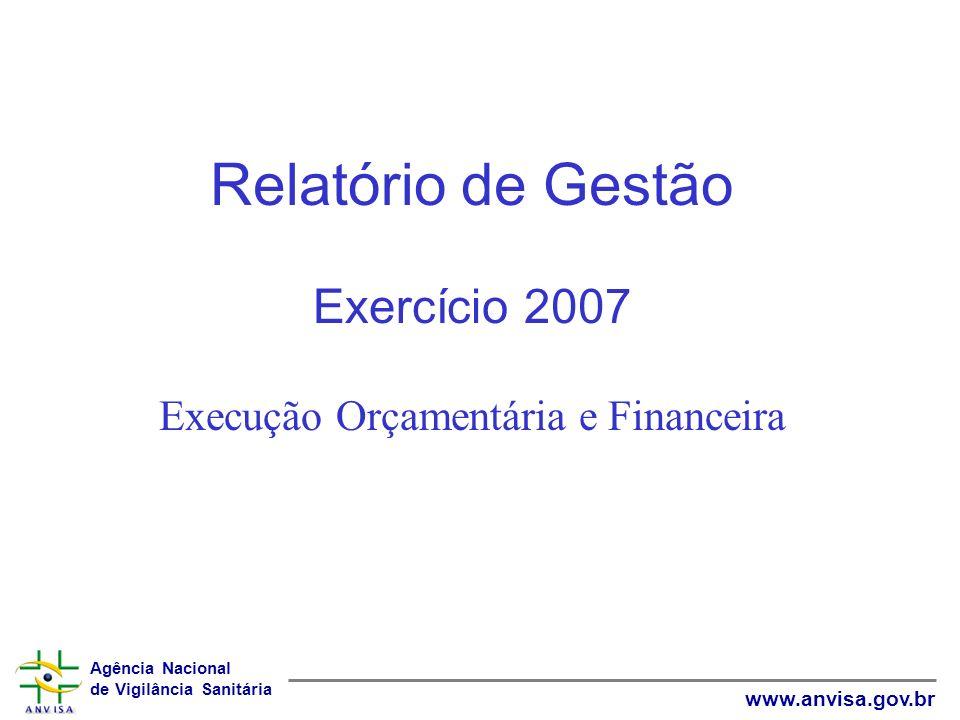Agência Nacional de Vigilância Sanitária www.anvisa.gov.br Relatório de Gestão Exercício 2007 Execução Orçamentária e Financeira