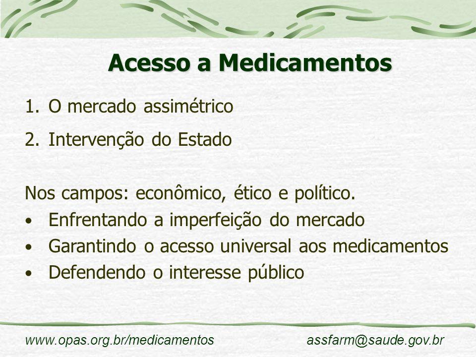 www.opas.org.br/medicamentosassfarm@saude.gov.br Acesso a Medicamentos 1.O mercado assimétrico 2.Intervenção do Estado Nos campos: econômico, ético e