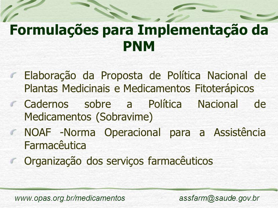 www.opas.org.br/medicamentosassfarm@saude.gov.br Formulações para Implementação da PNM Elaboração da Proposta de Política Nacional de Plantas Medicina