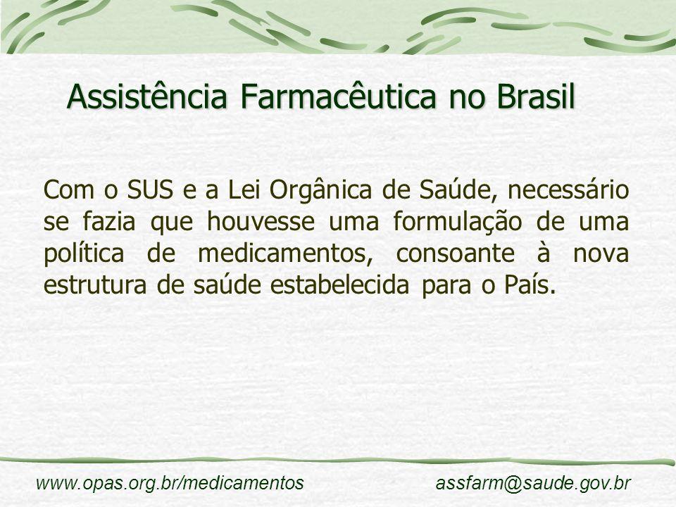 www.opas.org.br/medicamentosassfarm@saude.gov.br Assistência Farmacêutica no Brasil Com o SUS e a Lei Orgânica de Saúde, necessário se fazia que houve