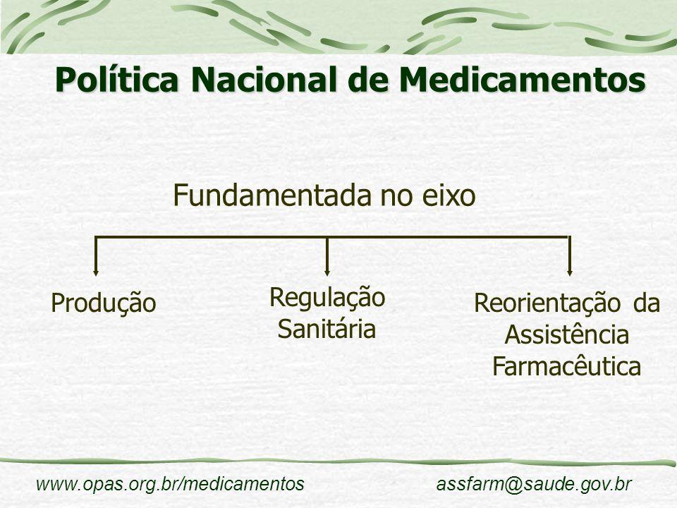 www.opas.org.br/medicamentosassfarm@saude.gov.br Produção O mercado brasileiro de medicamentos atualmente está entre os 10 maiores do mundo, sendo principal mercado da América Latina.
