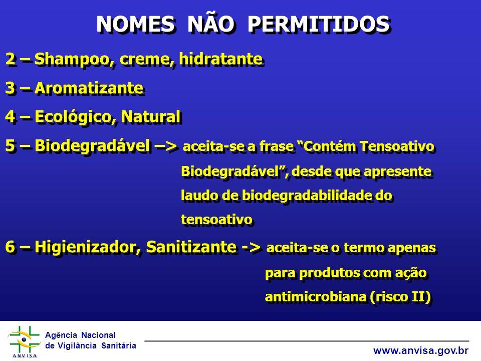 Agência Nacional de Vigilância Sanitária www.anvisa.gov.br COMPONENTES RESTRITOS 1 – Conservantes (apenas os listados na Port.