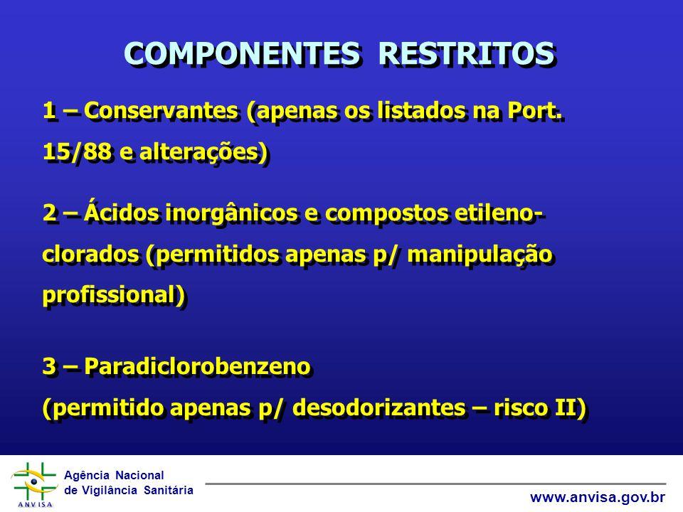 Agência Nacional de Vigilância Sanitária www.anvisa.gov.br COMPONENTES RESTRITOS 4 - Benzeno (RDC 252/03) Limite: 0,1% v/v no produto final Frases obrigatórias: de 0,01 a 0,1% v/v Limite: 0,1% v/v no produto final Frases obrigatórias: de 0,01 a 0,1% v/v