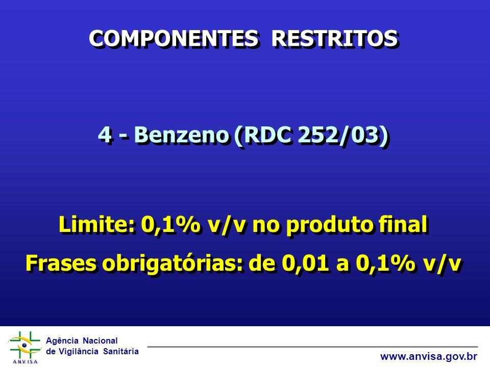 Agência Nacional de Vigilância Sanitária www.anvisa.gov.br ORIENTAÇÕES EM ROTULAGEM: 5 – Composição: Substituir: - formaldeído e por conservante comp.