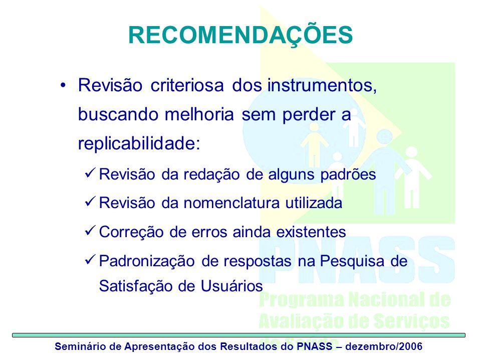 Seminário de Apresentação dos Resultados do PNASS – dezembro/2006 RECOMENDAÇÕES Revisão criteriosa dos instrumentos, buscando melhoria sem perder a re