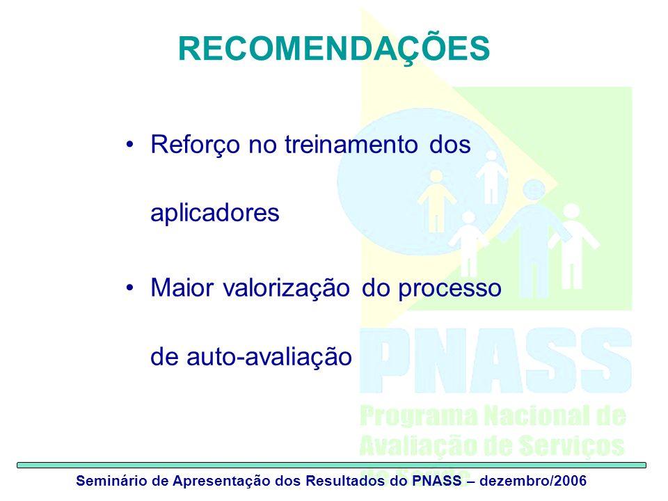 Seminário de Apresentação dos Resultados do PNASS – dezembro/2006 RECOMENDAÇÕES Reforço no treinamento dos aplicadores Maior valorização do processo d