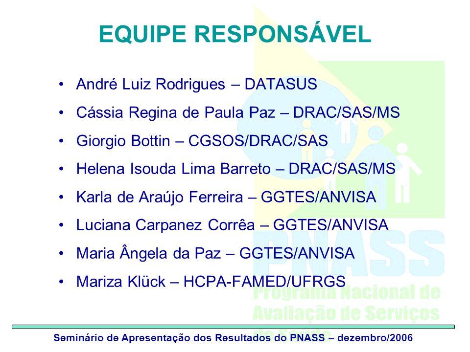 Seminário de Apresentação dos Resultados do PNASS – dezembro/2006 EQUIPE RESPONSÁVEL André Luiz Rodrigues – DATASUS Cássia Regina de Paula Paz – DRAC/