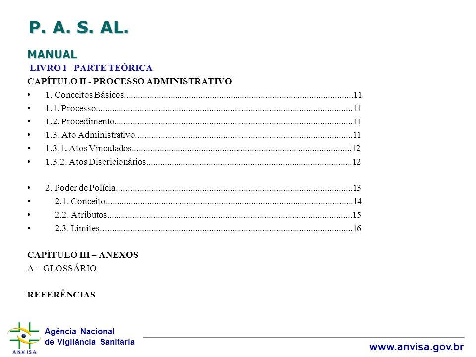Agência Nacional de Vigilância Sanitária www.anvisa.gov.br P. A. S. AL. MANUAL LIVRO 1 PARTE TEÓRICA CAPÍTULO II - PROCESSO ADMINISTRATIVO 1. Conceito