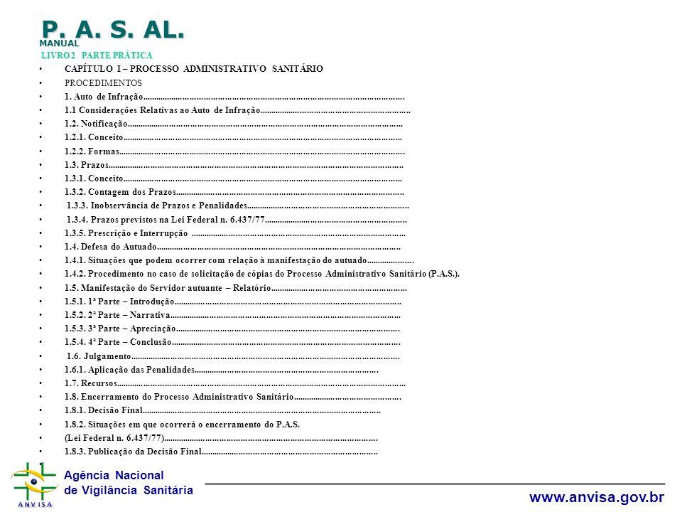 Agência Nacional de Vigilância Sanitária www.anvisa.gov.br P. A. S. AL. MANUAL LIVRO 2 PARTE PRÁTICA CAPÍTULO I – PROCESSO ADMINISTRATIVO SANITÁRIO PR