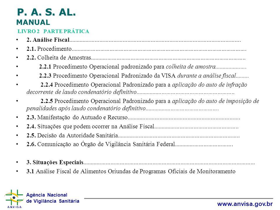 Agência Nacional de Vigilância Sanitária www.anvisa.gov.br P. A. S. AL. MANUAL LIVRO 2 PARTE PRÁTICA 2. Análise Fiscal................................