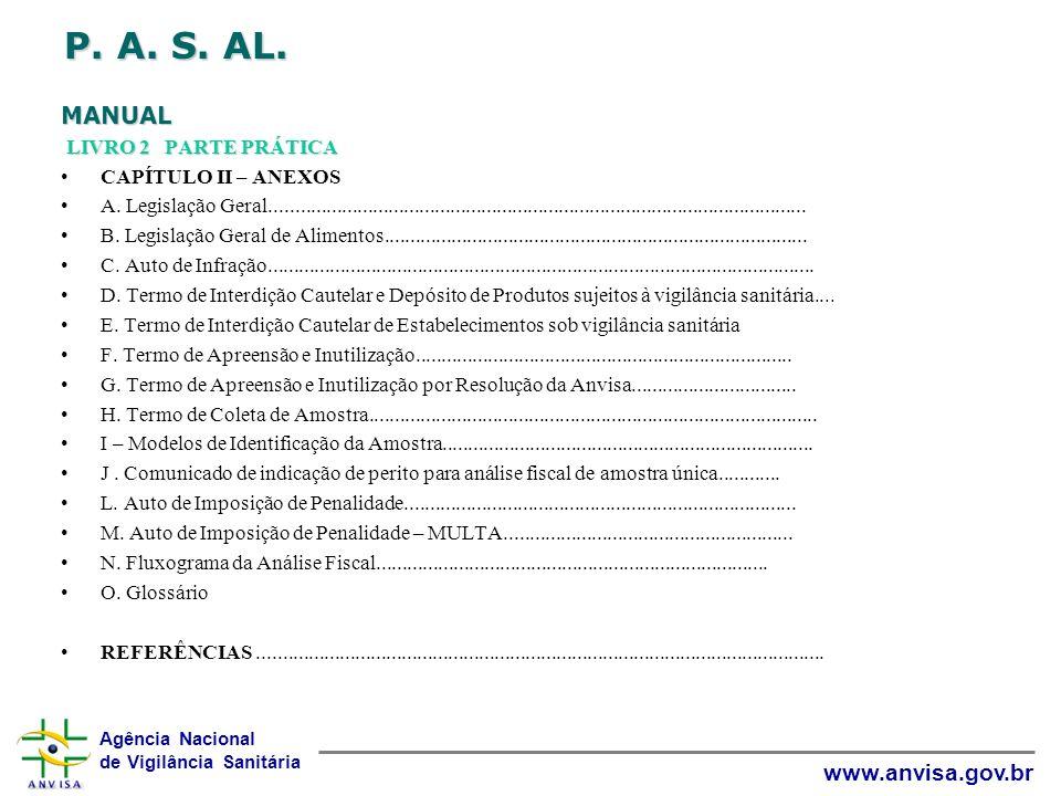 Agência Nacional de Vigilância Sanitária www.anvisa.gov.br P. A. S. AL. MANUAL LIVRO 2 PARTE PRÁTICA CAPÍTULO II – ANEXOS A. Legislação Geral.........