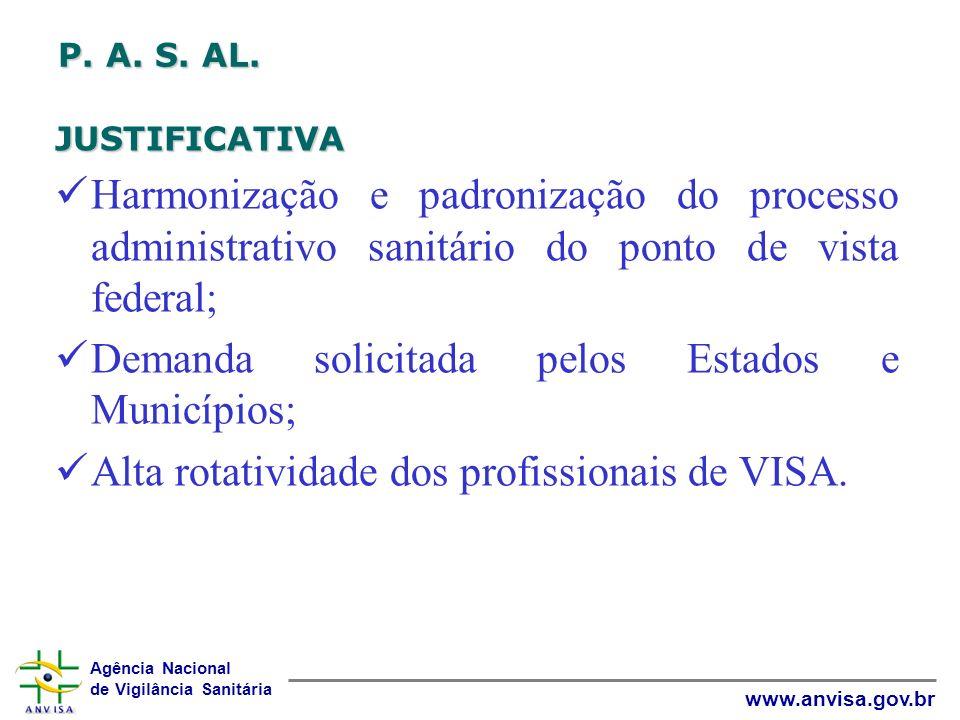 Agência Nacional de Vigilância Sanitária www.anvisa.gov.br P. A. S. AL. JUSTIFICATIVA Harmonização e padronização do processo administrativo sanitário
