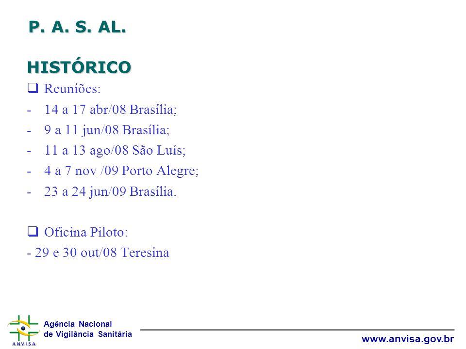 Agência Nacional de Vigilância Sanitária www.anvisa.gov.br P. A. S. AL. HISTÓRICO Reuniões: -14 a 17 abr/08 Brasília; -9 a 11 jun/08 Brasília; -11 a 1