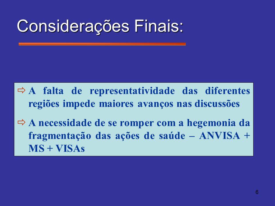 6 Considerações Finais: A falta de representatividade das diferentes regiões impede maiores avanços nas discussões A necessidade de se romper com a he