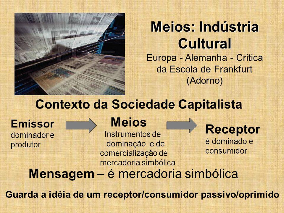 Meios: Indústria Cultural Meios: Indústria Cultural Europa - Alemanha - Critica da Escola de Frankfurt (Adorno) Guarda a idéia de um receptor/consumid