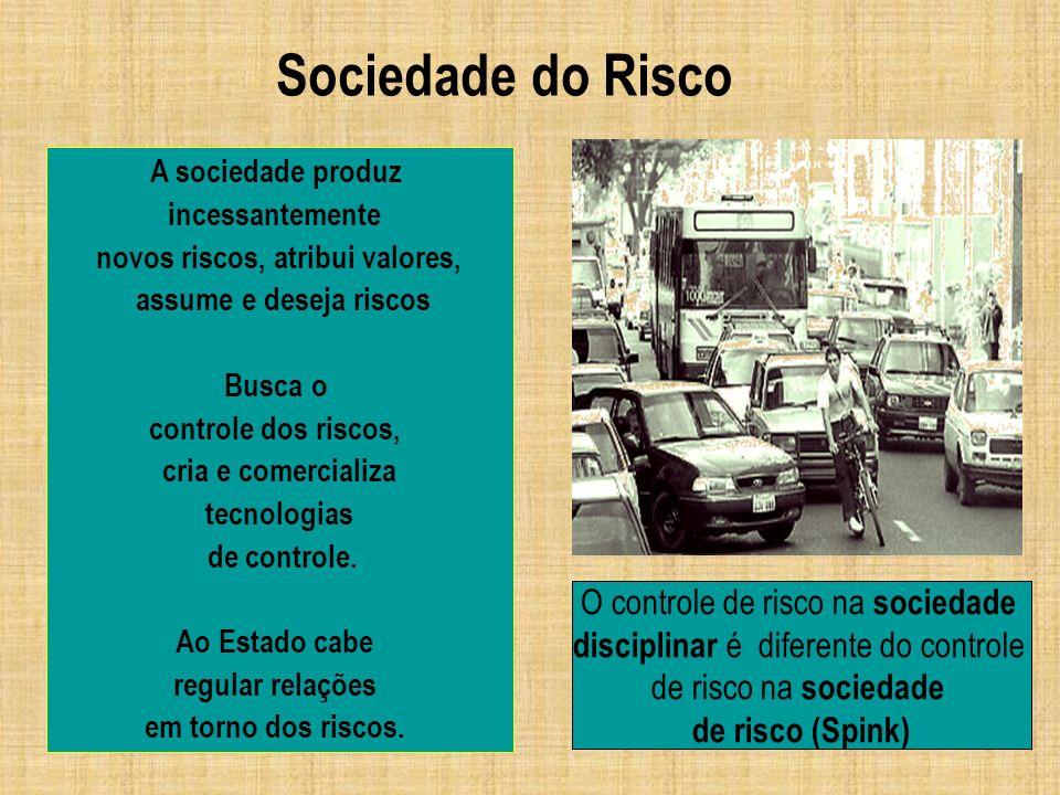 Sociedade do Risco O controle de risco na sociedade disciplinar é diferente do controle de risco na sociedade de risco (Spink) A sociedade produz ince