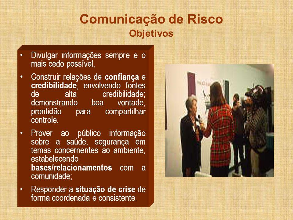 Comunicação de Risco Objetivos Divulgar informações sempre e o mais cedo possível, Construir relações de confiança e credibilidade, envolvendo fontes