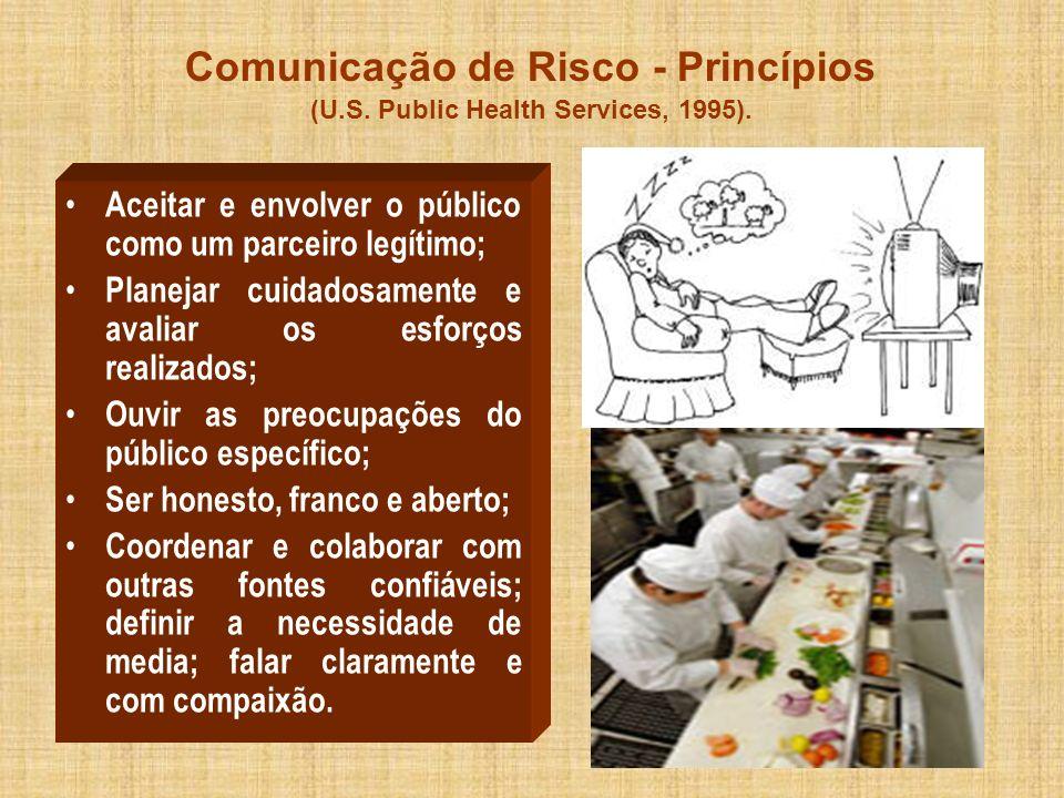 Comunicação de Risco - Princípios (U.S. Public Health Services, 1995). Aceitar e envolver o público como um parceiro legítimo; Planejar cuidadosamente