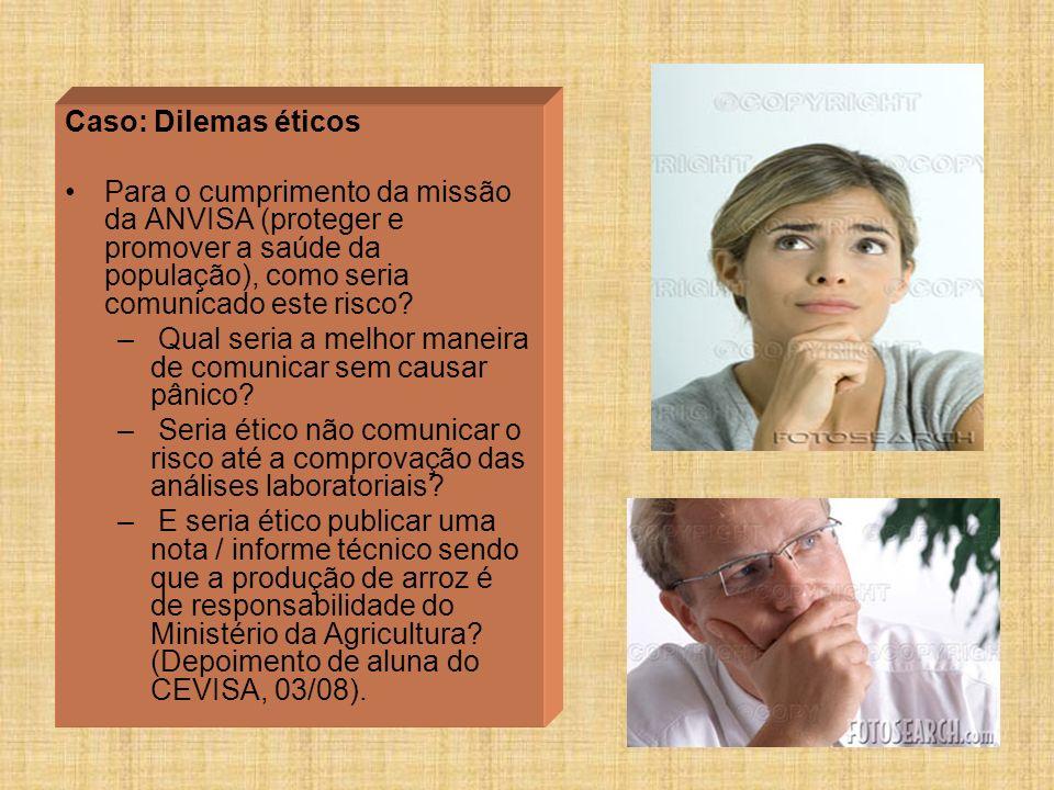 Caso: Dilemas éticos Para o cumprimento da missão da ANVISA (proteger e promover a saúde da população), como seria comunicado este risco? – Qual seria