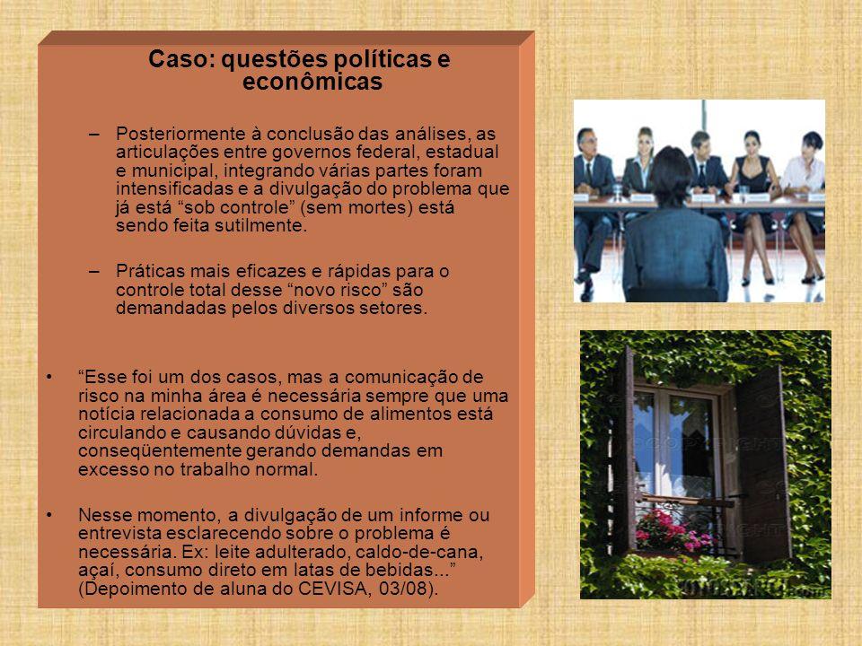 Caso: questões políticas e econômicas –Posteriormente à conclusão das análises, as articulações entre governos federal, estadual e municipal, integran