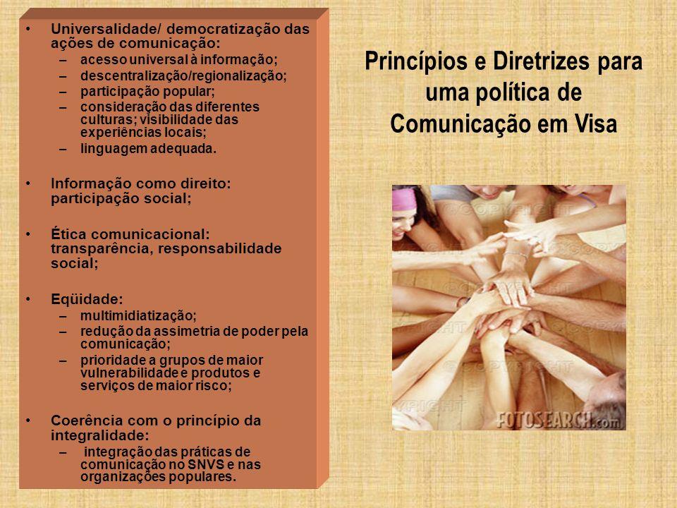 Princípios e Diretrizes para uma política de Comunicação em Visa Universalidade/ democratização das ações de comunicação: –acesso universal à informaç