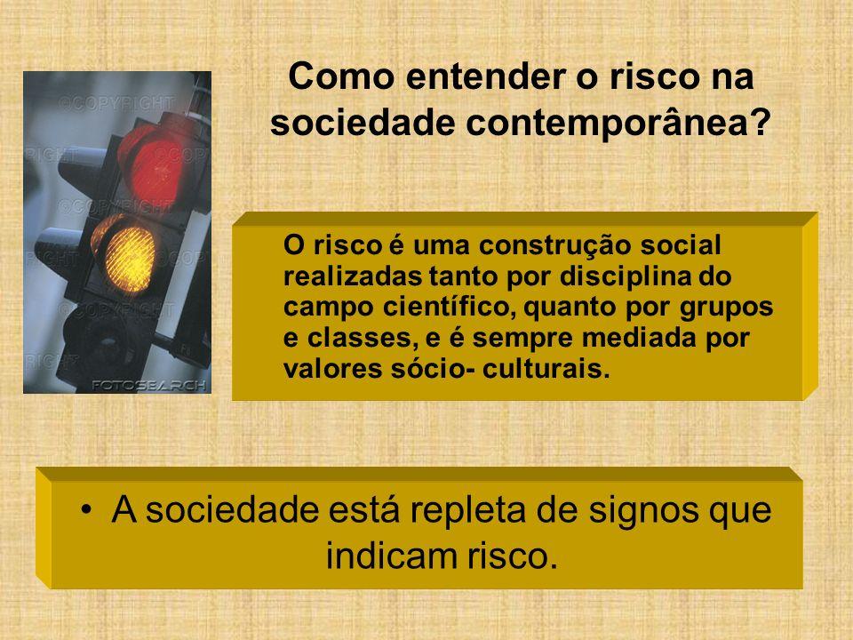 Como entender o risco na sociedade contemporânea? O risco é uma construção social realizadas tanto por disciplina do campo científico, quanto por grup