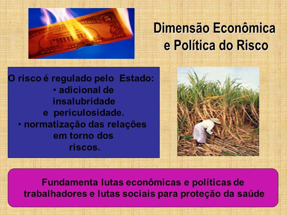 Dimensão Econômica e Política do Risco e Política do Risco O risco é regulado pelo Estado: adicional de insalubridade e periculosidade. normatização d