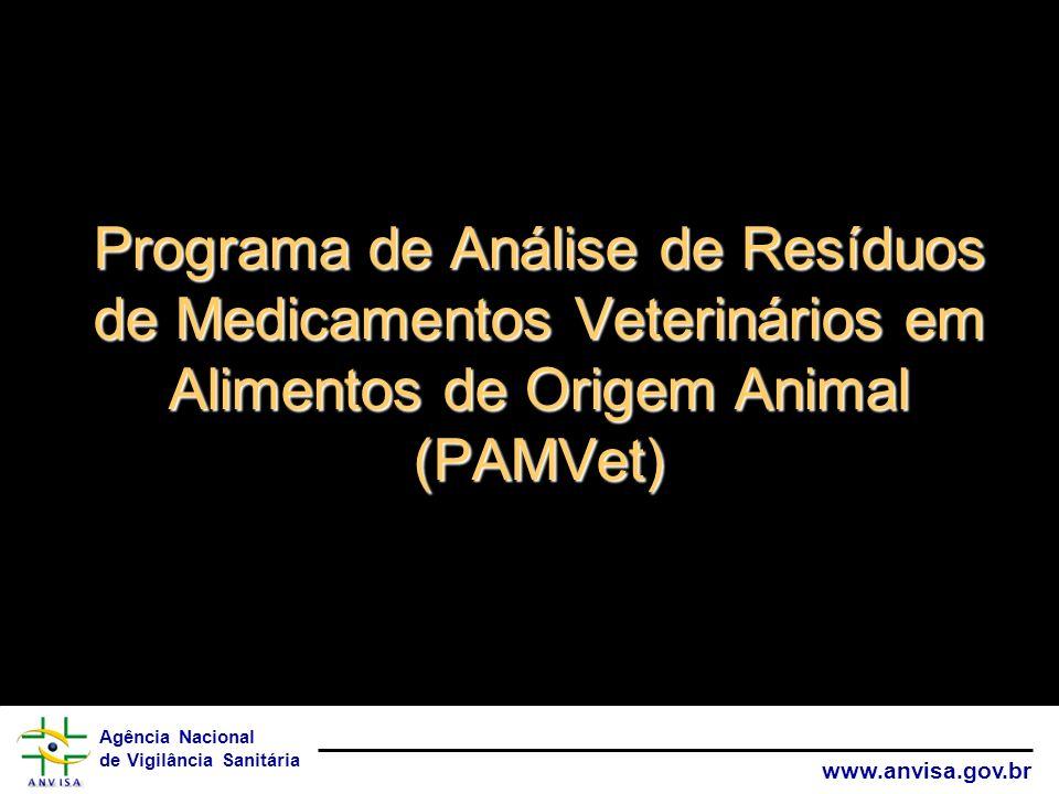 Agência Nacional de Vigilância Sanitária www.anvisa.gov.br Programa de Análise de Resíduos de Medicamentos Veterinários em Alimentos de Origem Animal