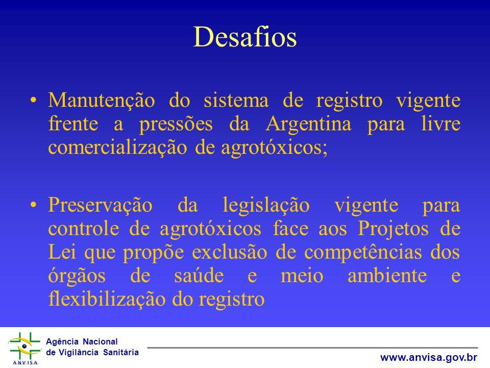 Agência Nacional de Vigilância Sanitária www.anvisa.gov.br Considerações Finais Existem 34 pedidos de registro para produtos técnicos equivalentes Os