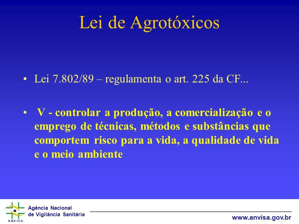 Agência Nacional de Vigilância Sanitária www.anvisa.gov.br GERÊNCIA GERAL DE TOXICOLOGIA Livre Comercialização de Agrotóxicos Luiz Claudio Meirelles 8